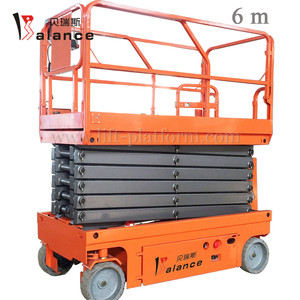 6m Portable Scissor Man Lift Telescopic Elevator Scissor Lift Glass  Cleaning Lifting Platform Battery Traveling Elevator Table