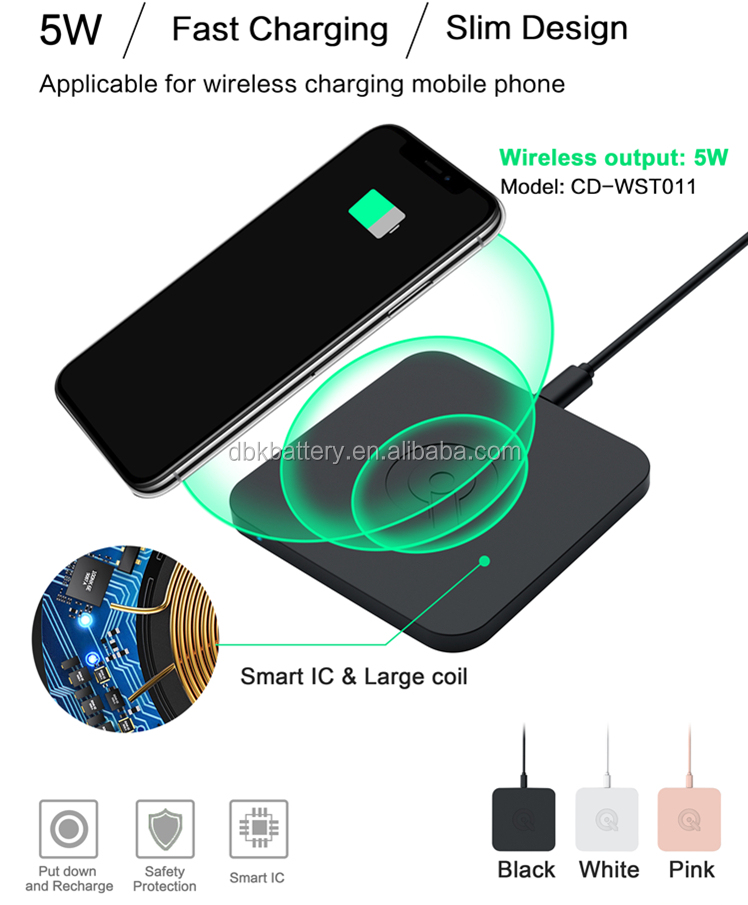 Wholesale 5W universal flat adapter lost cost Qi wireless mobile phone charger