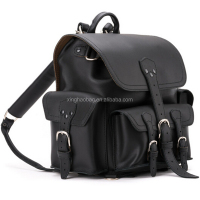 Black leather saddle bags squared backpack China bagpack camera backpacks