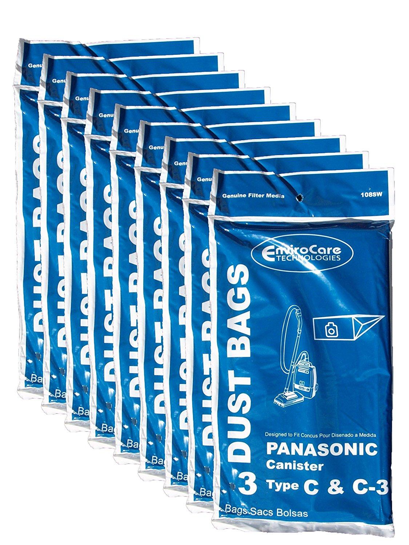 27 Panasonic Type C C-3 C3 Allergy Vacuum Bags, Canisters Vacuum Cleaners, MC-125P, MC125P, MC771, MC772, MC8310, MC8320, MC8330