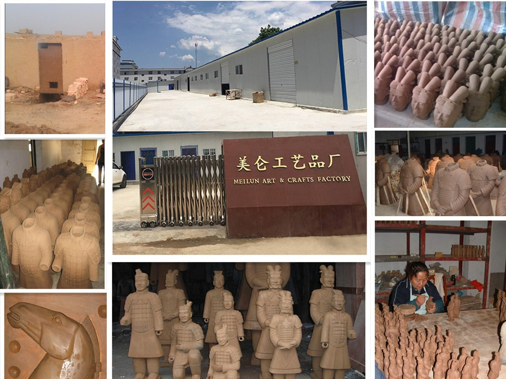 Meilun Art Crafts Qin's Clay Warriors And Horse Statue Terracotta Army History Collection Home Outdoor Decoration Manufacturer