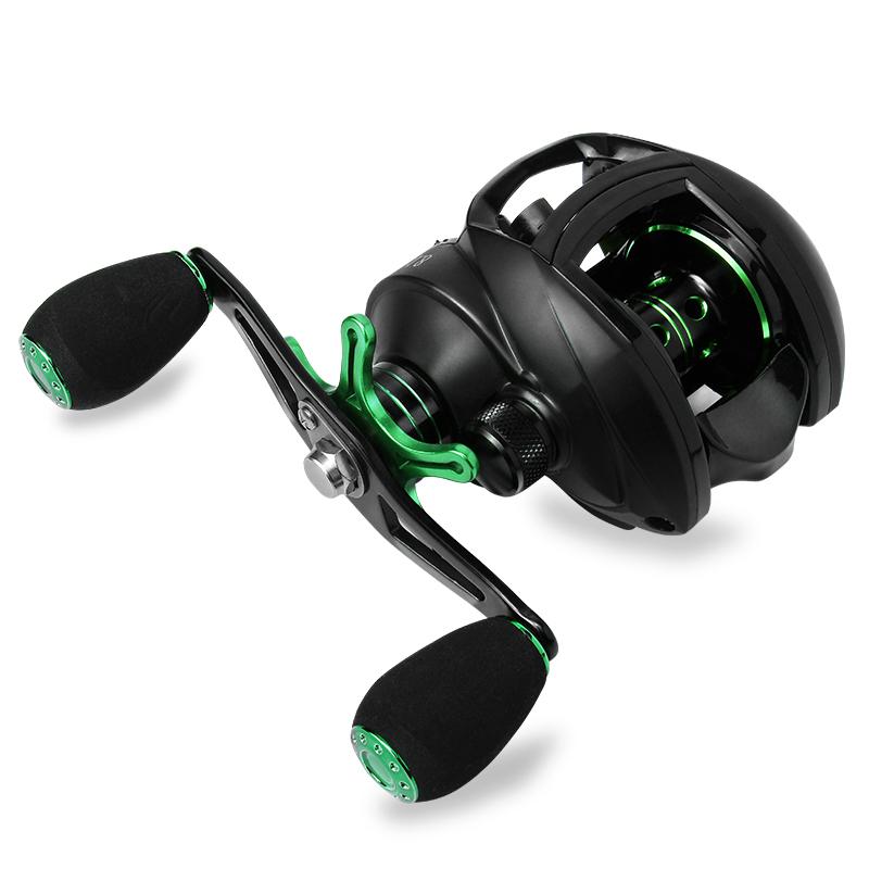 Best Baitcasting Reel 8.1:1 12+1BB Fishing Reel 8KG Max Drag Left Right Hand Reel Reinforced Nylon Body White Bass, Black