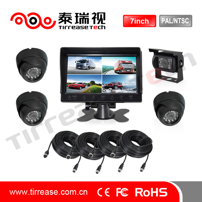 4 video input car reversing system for bus /truck car camera monitor system