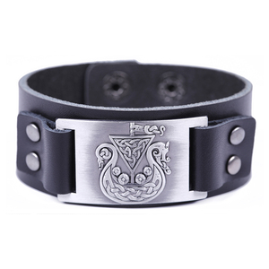 2018 Fashion Boy Amulet Viking Pirate Ship Dragon Irish Knot Pattern Sheet Metal Amulet Genuine Leather Men Bracelet Bangle