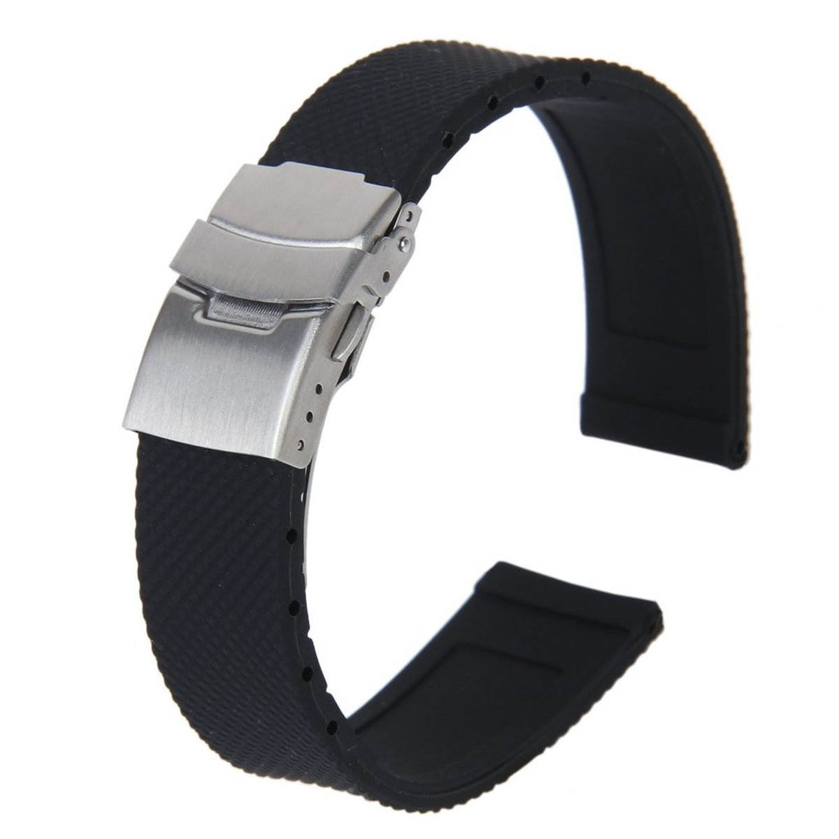 Tinksky 20mm Waterproof Silicone Watch Band Strap with Stainless Steel Deployment Clasp Buckle (Black)