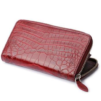 7e862c661 Monedero marca señoras hermosa cartera zip alrededor de cocodrilo de cuero  de grano monedero