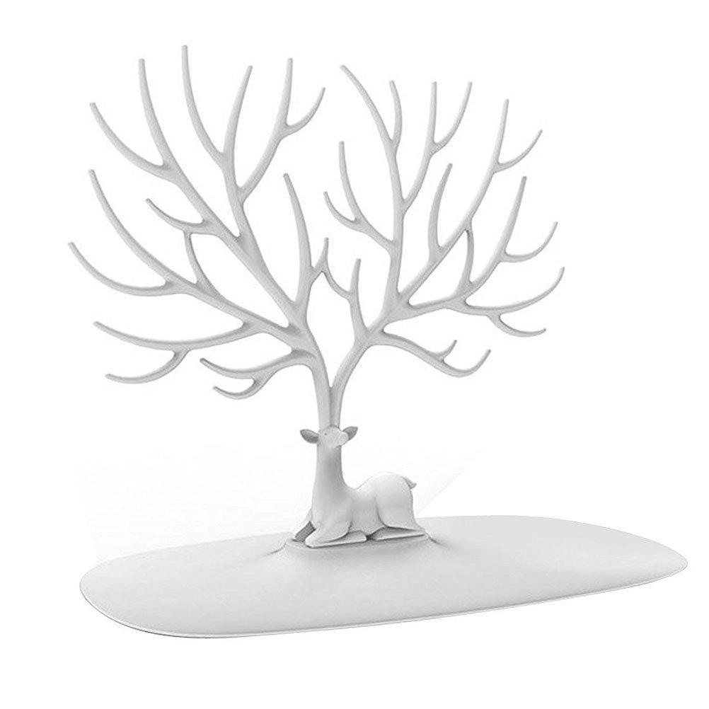 FENICAL Deer Antler Tree Design Bracelet Necklace Holder Jewelry Organizer Stand (White)