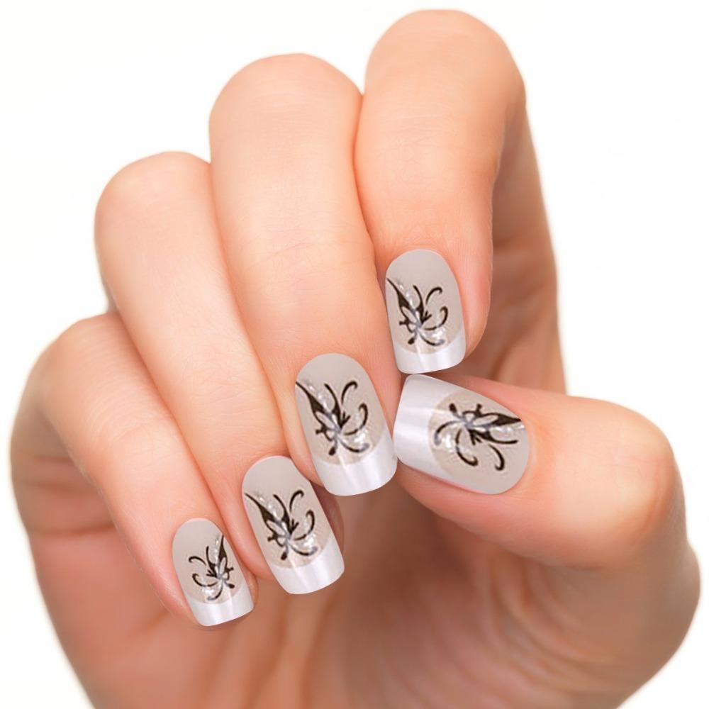 24pcs Set Acrylic False Nail Tips French Full Nails Art