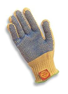 """Ansell Size 10 GoldKnit 100% Kevlar® Medium Weight String Knit Cut Resistant Gloves With 10"""" Cuff And PVC Dots Both Sides"""