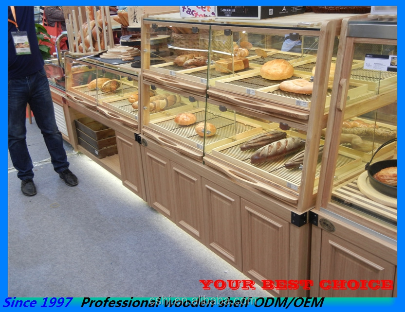 Island Wooden Bakery Display Cabinet Case With Lighting - Buy ...