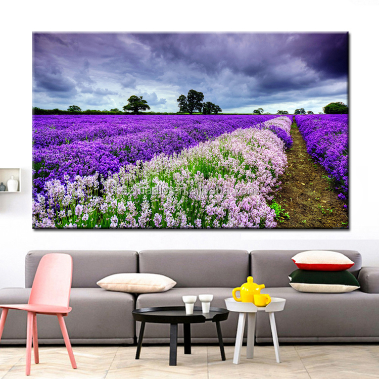 Single Canvas Flower Paintings for Living Room Modern Canvas Art Painting Dafen Lavender Field Scene Canvas Prints Dropshipping