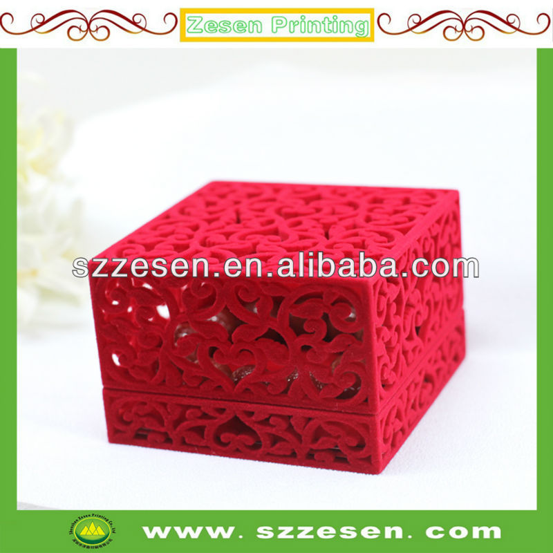 Flocking Hollow-Out Decorative Pattern Jewellery Ring Box
