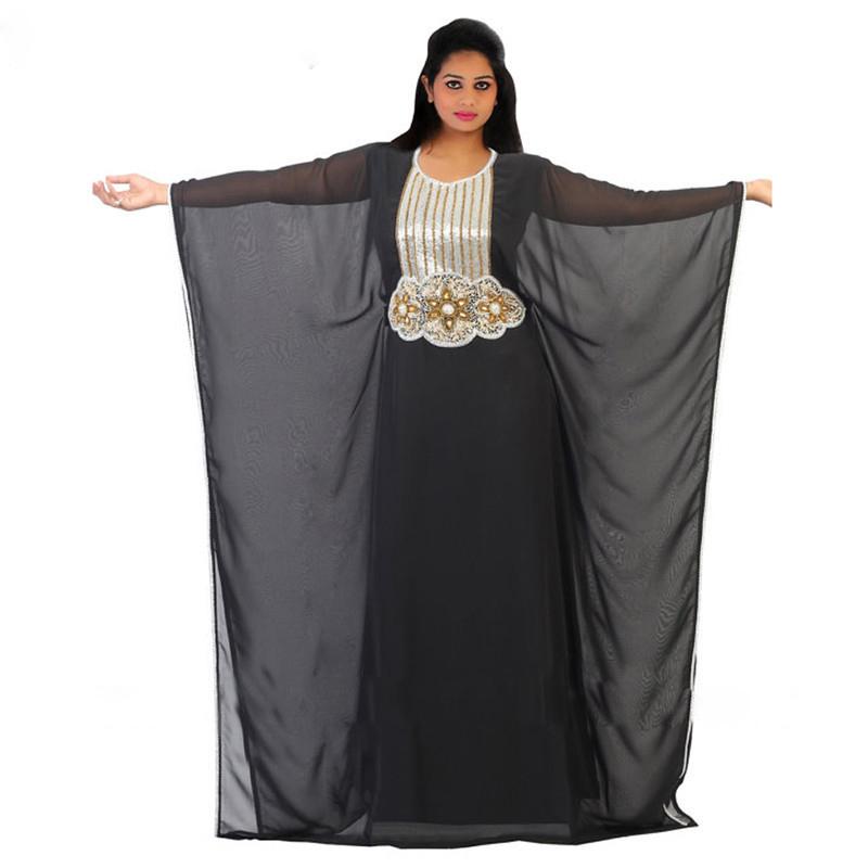 Elegant Long Sleeve Wedding Dresses Muslim Dress 2015: Elegant Crystal Long Sleeves Chiffon Women Muslim Evening