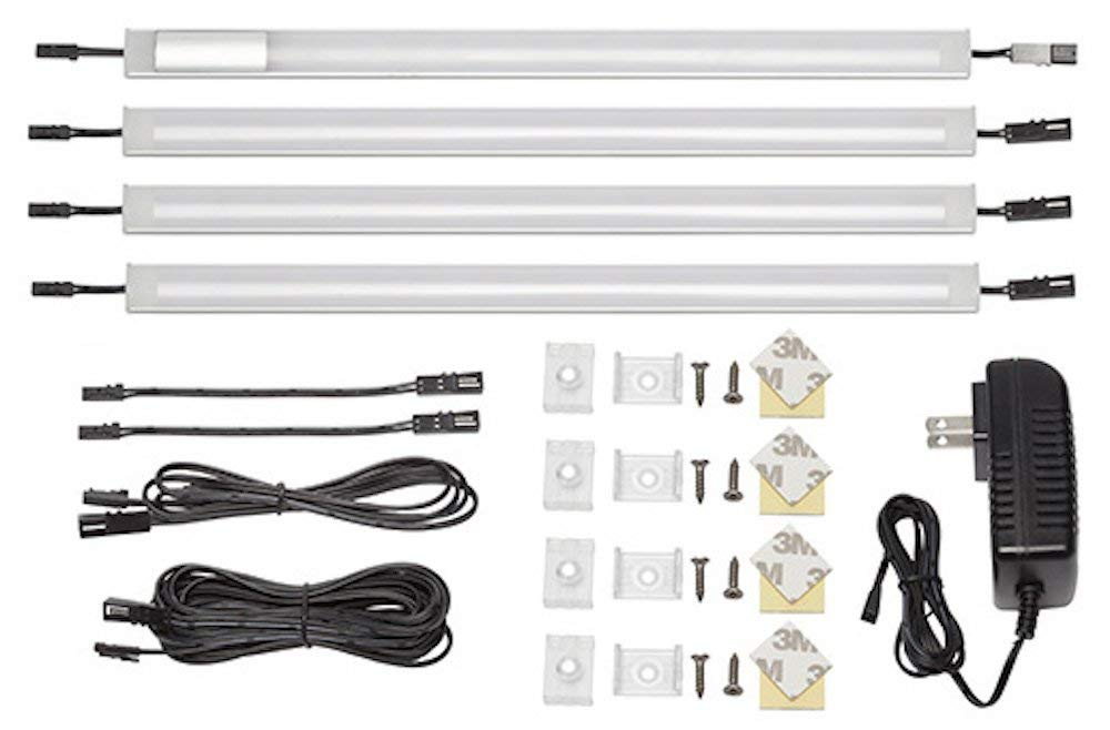 Luminus Solutions GD015-240 12-Inch Warm White Touch On/Off Dimmer Switch, LED Under Cabinet Lighting 4-Panel Standard Kit, 3000K, 12V DC, Durable Aluminum Body, All Accessories Included (4 Panel)