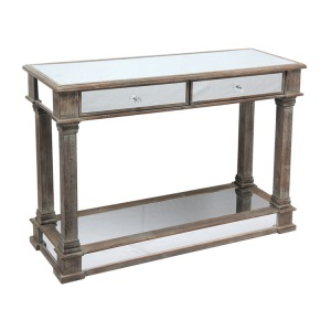 Antique Wooden Hallway Console Table with Mirror