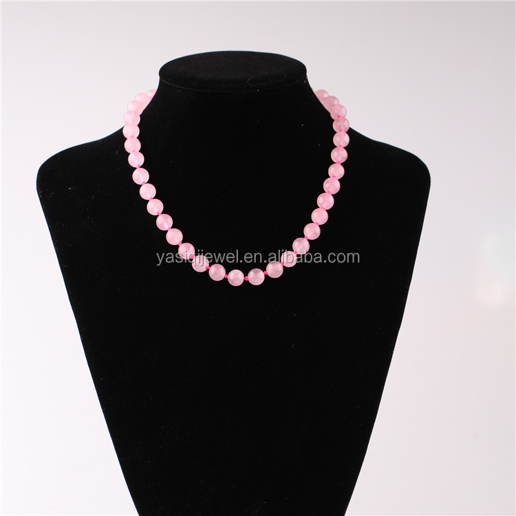 latest design beads necklace, pink quartz crystal jewelry necklace for women
