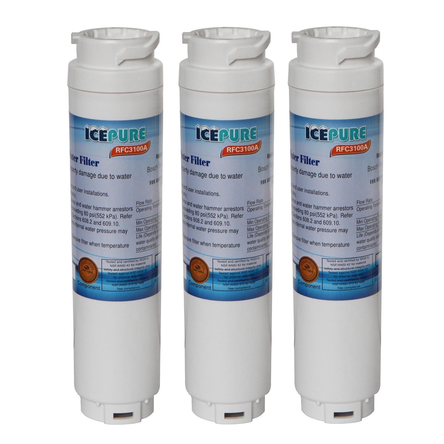 3 Pack Bosch Ultra Clarity Refrigerator Water Filter Replacement by IcePure RFC3100A