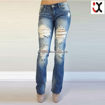 2015 Best Selling Ripped Bootcut Jeans For Sexy Women Slim Denim ...