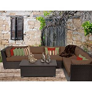 Delacora BARBADOS-07b-COCOA Caribbean 7-Piece Aluminum Framed Outdoor Conversation Set with Rectangular Coffee Table