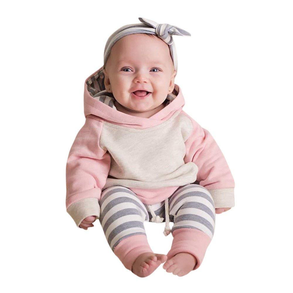 325ba1234c13 Get Quotations · 3PCS Toddler Baby Boys Girls Clothes Long Sleeves Hoodie  Tops+Pants+Headband Outfits Set