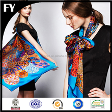 yiyu manufacturer digital printed 14mm silk twill custom scarf