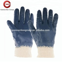 Cotton Interlock Fabric Fully Coated Light Weight Blue Nitrile Glove for Construction