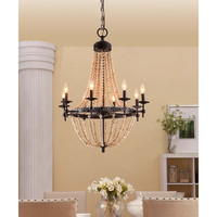 Natural Beaded Black 8-light Chandelier Pendant Lights