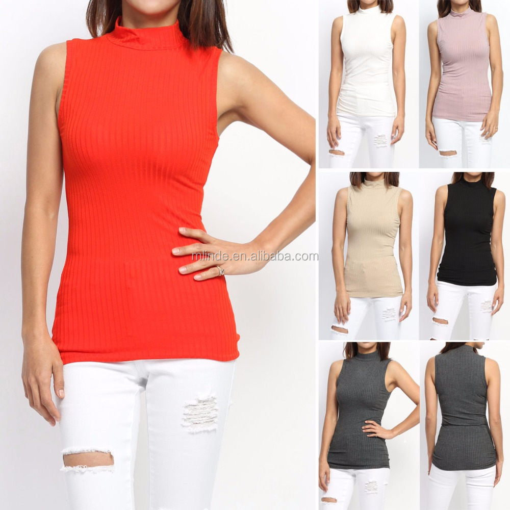 Mädchen Sleeveless Pullover Frauen Bibbed Stricken Mock Neck Tank Top Sleeveless Leichte Pullover Strickmuster Buy Sleeveless Pullover