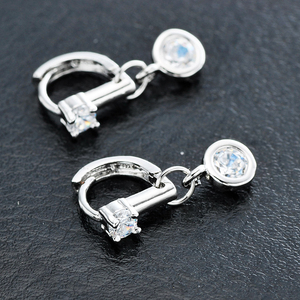 ERPL020 urban silver earring jewelry zircon ear clip for office lady