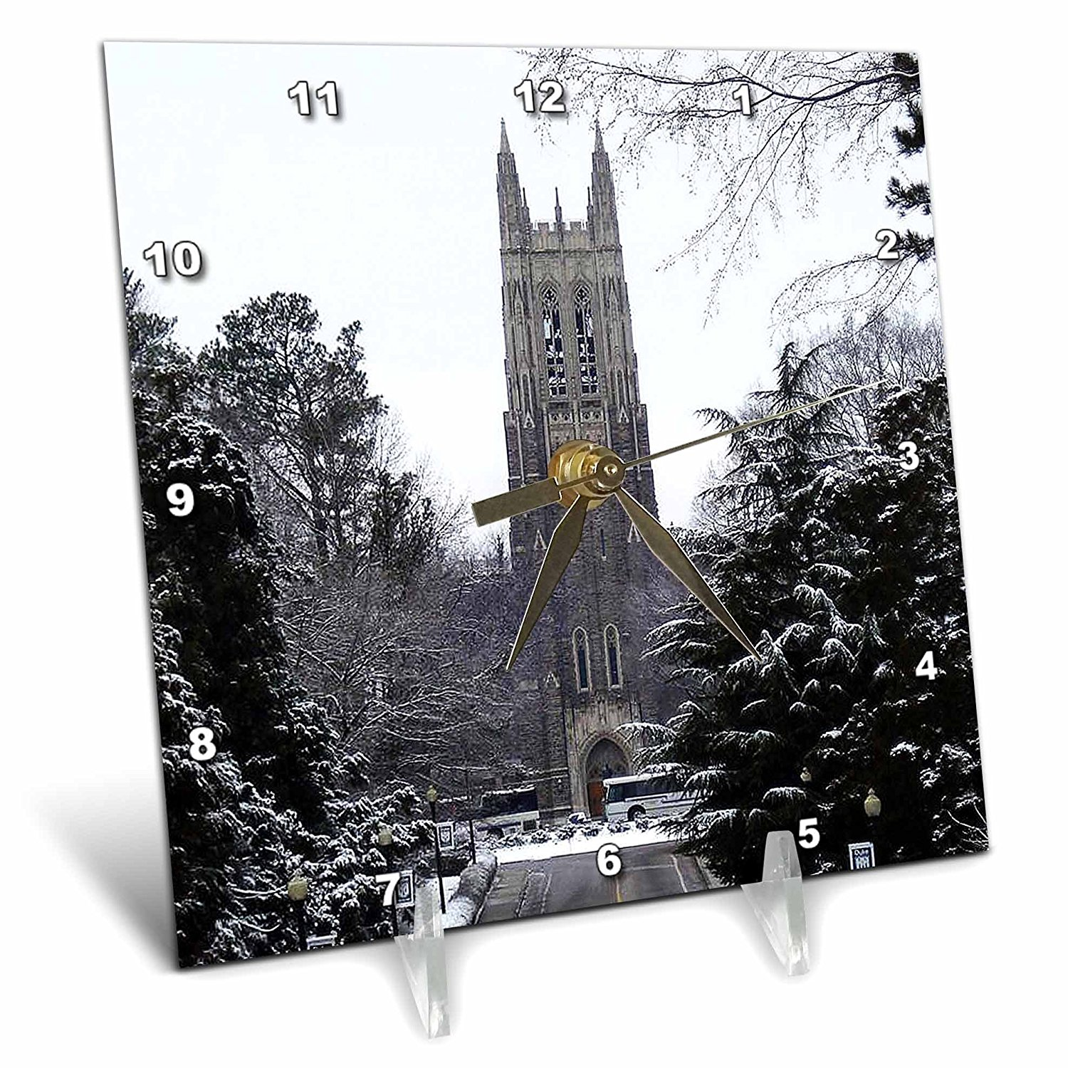 3dRose dc_55281_1 Duke University Chapel Durham Desk Clock, 6 by 6-Inch