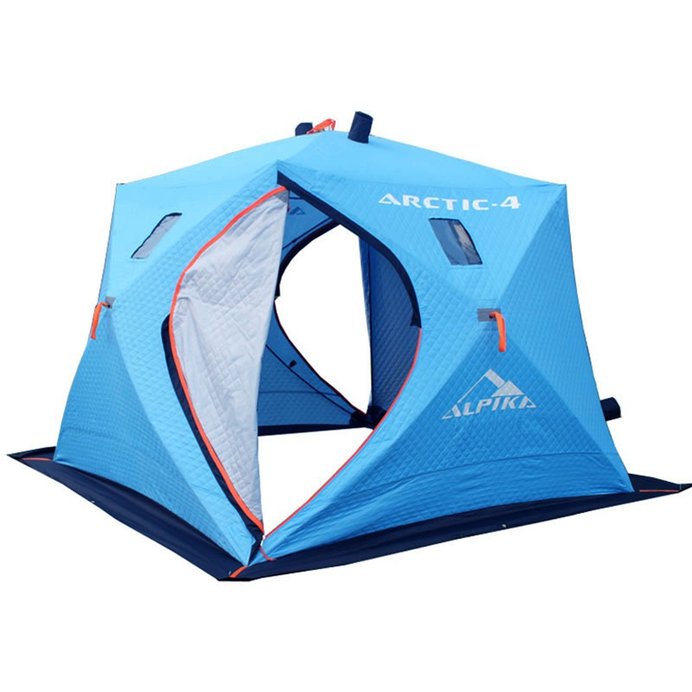 High quality triple-layer fabric ice 3-4 persons pop up heat insulation winter ice cube fishing shelter <strong>tent</strong> to keep warm