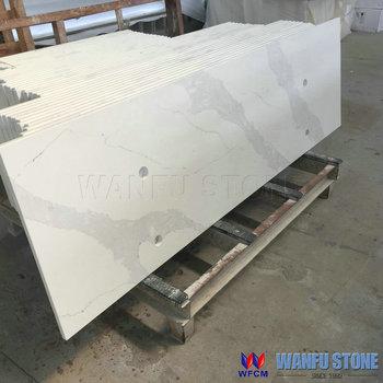 Calacatta White Quartz Stone Vanity Table Tops With Vessel Sink