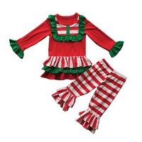 Children's boutique persnickety remake clothes kids fancy suit little girls stripe ruffle clothing set christmas baby outfits