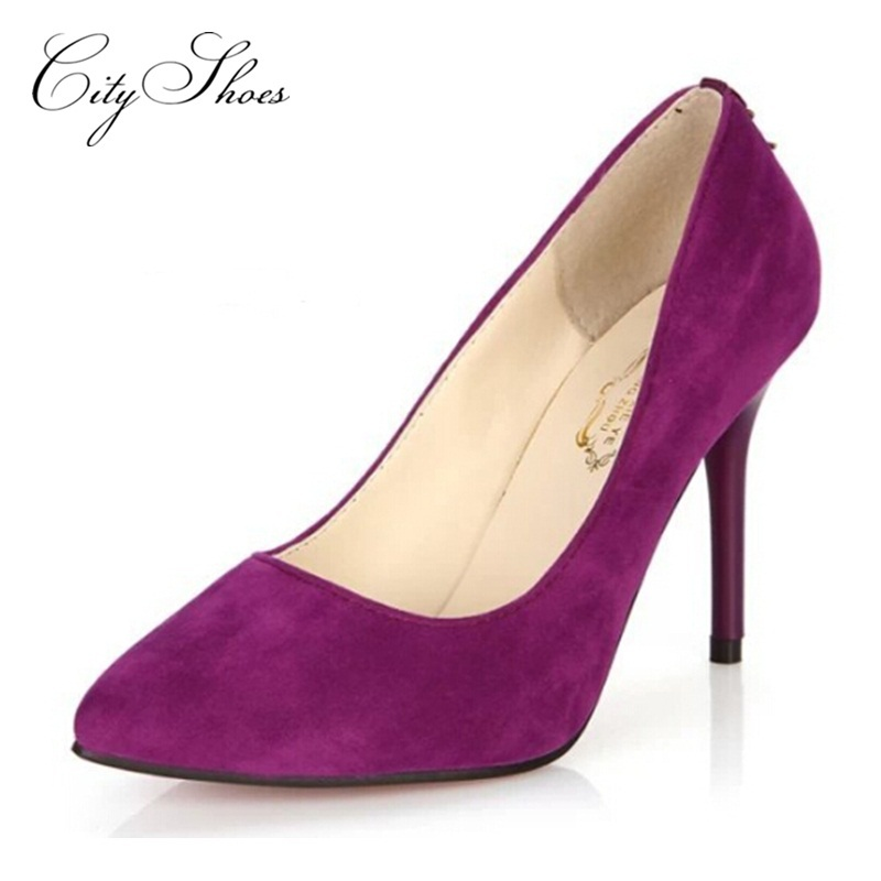 2015 sexy suede Pointed toe Women pumps ladies high heels shoes summer Black purple blue wine red sole bottom Woman wedding shoe
