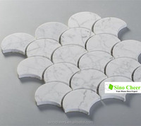 fish scale/grand fan shaped white stone mosaic tile