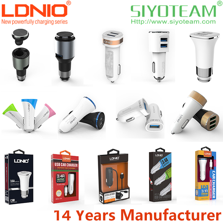 mini car charger LDNIO 1 2 3 USB Ports Quick Charging car charger