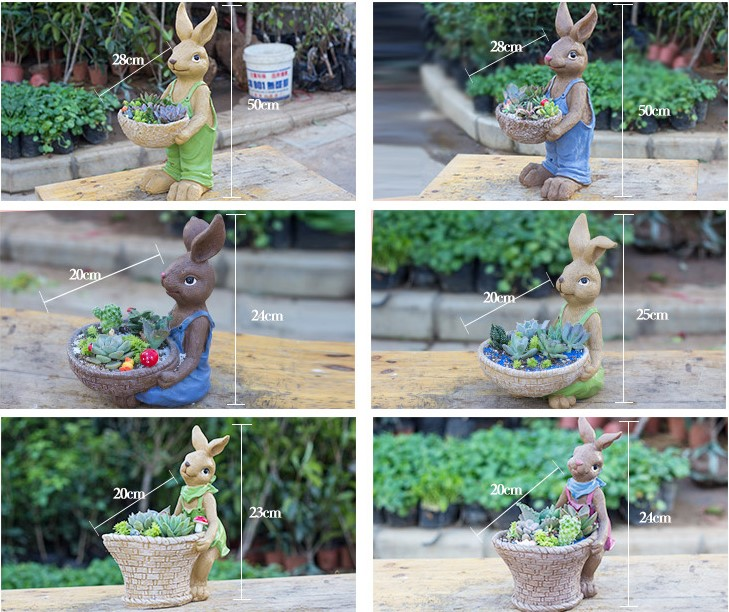 Garden decoration flower pot Rabbit resin planter pot
