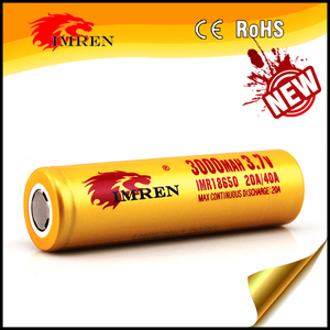 New arrival golden 18650 imren imr 3000mh high power full capacity 3.7v 18650 rechargeable batteries for vaping