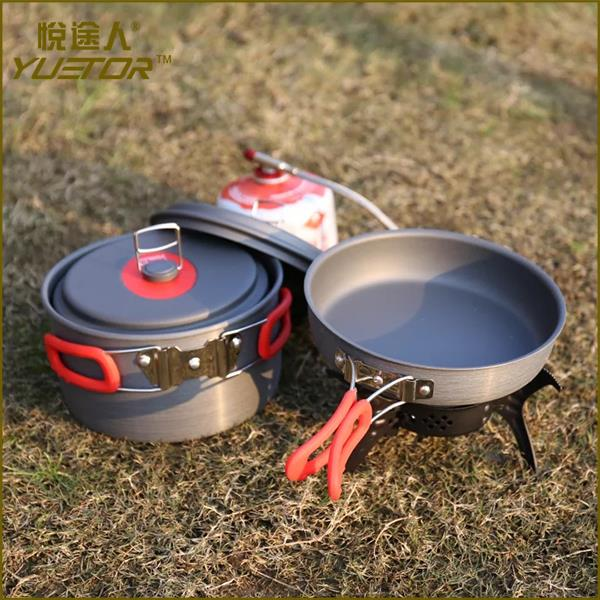Manufacturer outdoor camping stainless steel cookware mess kit with carry bag