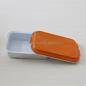 Takeaway rectangular disposable aluminum foil airline food container/tray