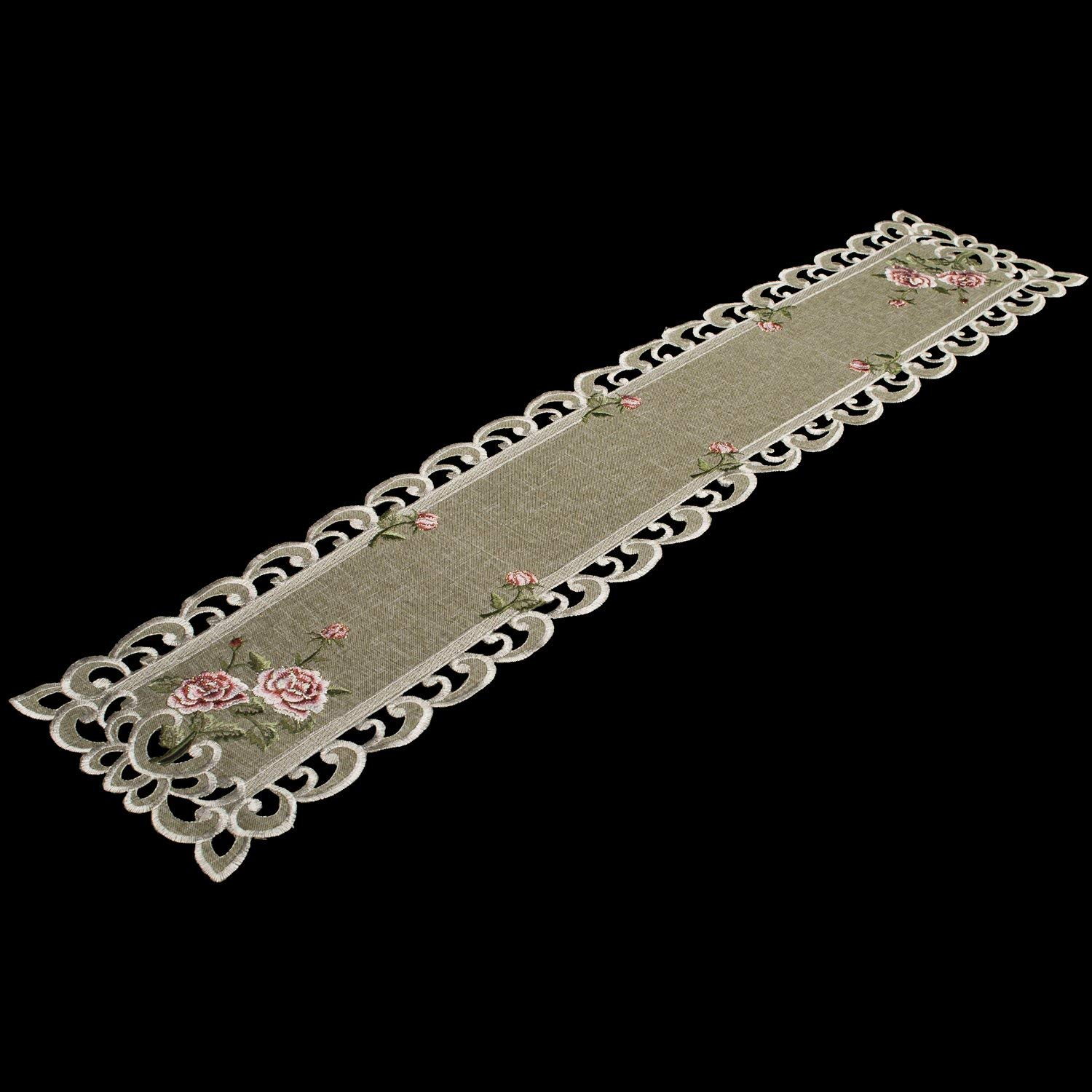 """Table Runner with a Pink Rose and Sage Green Burlap Linen Fabric, Coffee Table Scarf, Toilet Lid Scarf, Size 8"""" x 35"""" Rectangle"""