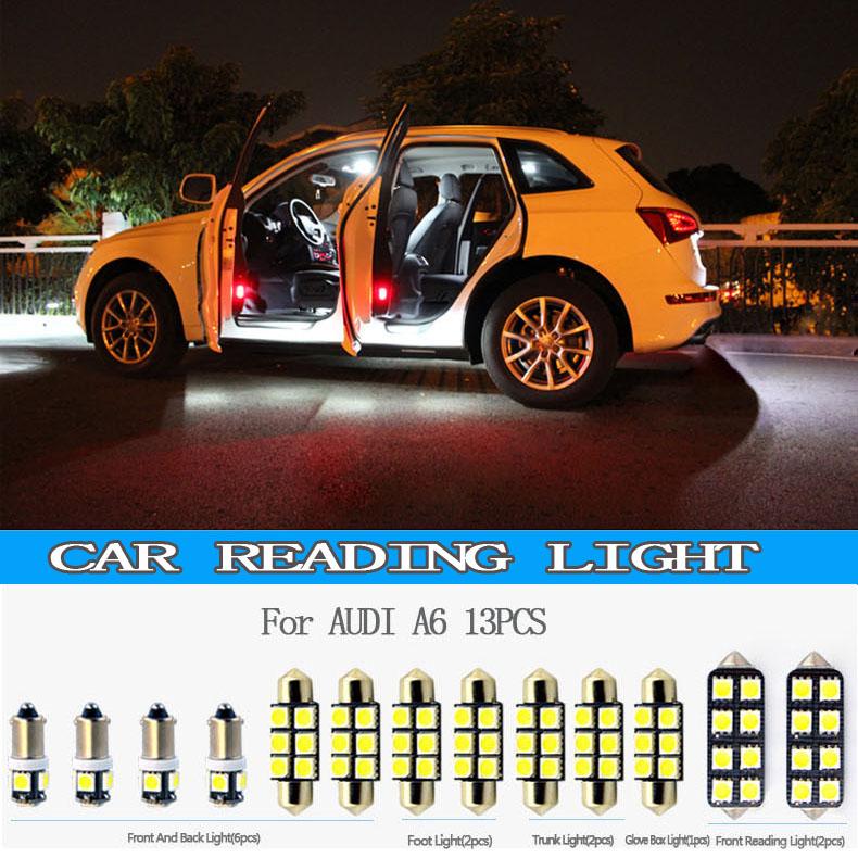Высокое качество 13 шт. T10 автомобилей чтение свет для 2000,2001, 2002,2003, 2004,2005, A6 ноги, Перчатки, Ствол свет