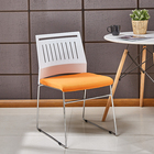 Cheap dining room furniture colorful stackable plastic pp dinning cafe chair with metal legs
