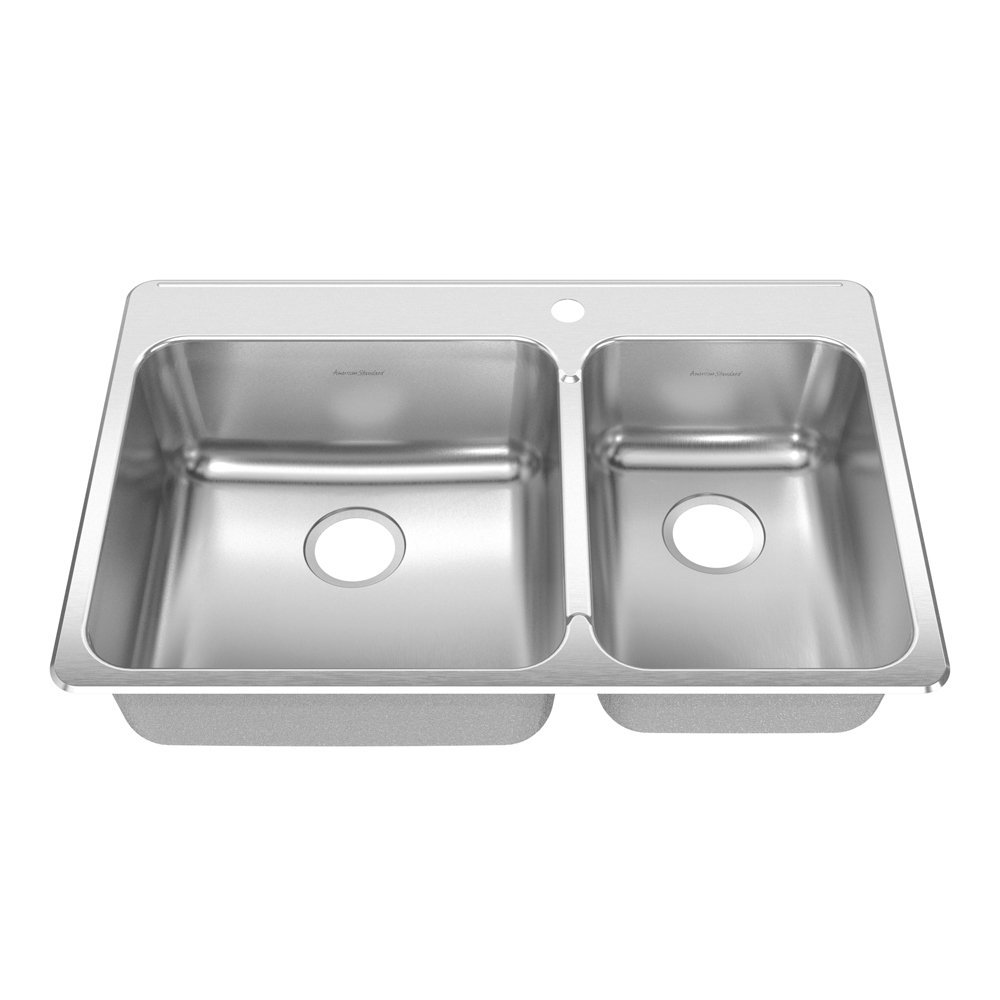 American Standard 17CR.332211.073 Prevoir 33.38-Inch Stainless Steel Single Hole Topmount Double Combination with Small Bowl on Right Kitchen Sink, Brushed Satin