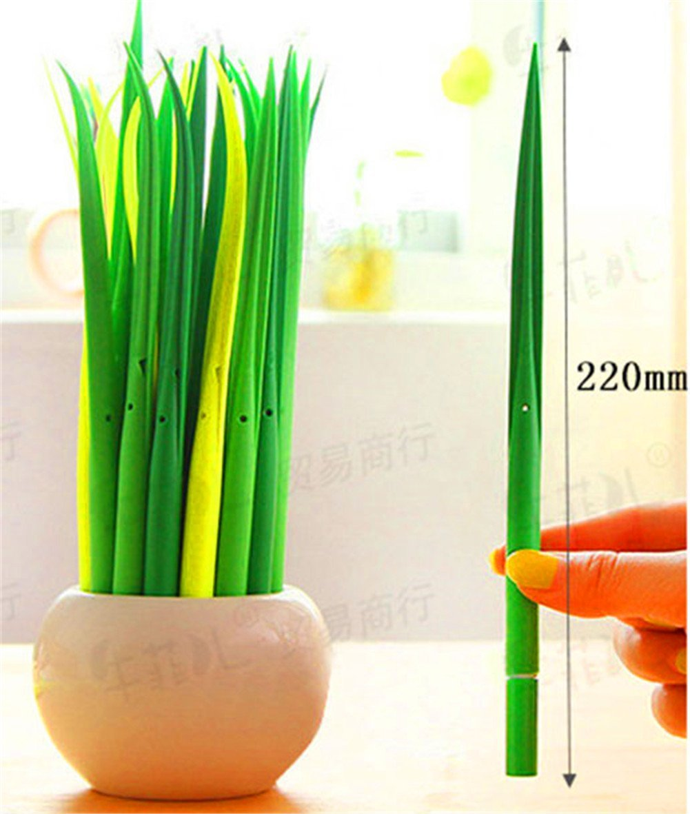 Alice Windowshop Grass blade Shape Ballpoint Pen 0.38MM Refill Gel Ink Pens12 pc Promotional Pens Office School Supplies Students Children Sets Gift