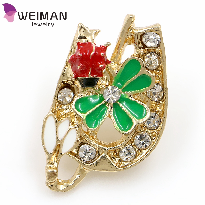 Weiman Factory New design Bulk Ladybug flower brooch wholesale