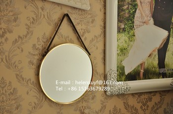 Ronde Spiegel Metaal : Moderne metalen frame decoratieve ronde spiegel met lederen band