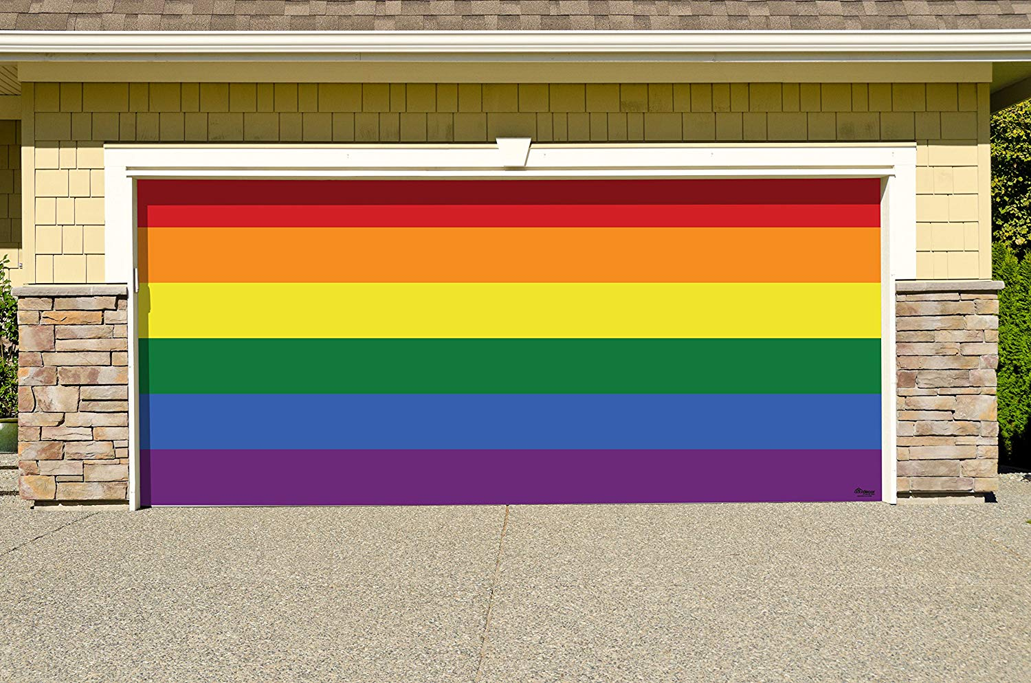 Victory Corps Original Pride - Outdoor PRIDE LGBT Garage Door Banner Mural Sign Décor 7'x 16' Car Garage -The Original Holiday Garage Door Banner Decor