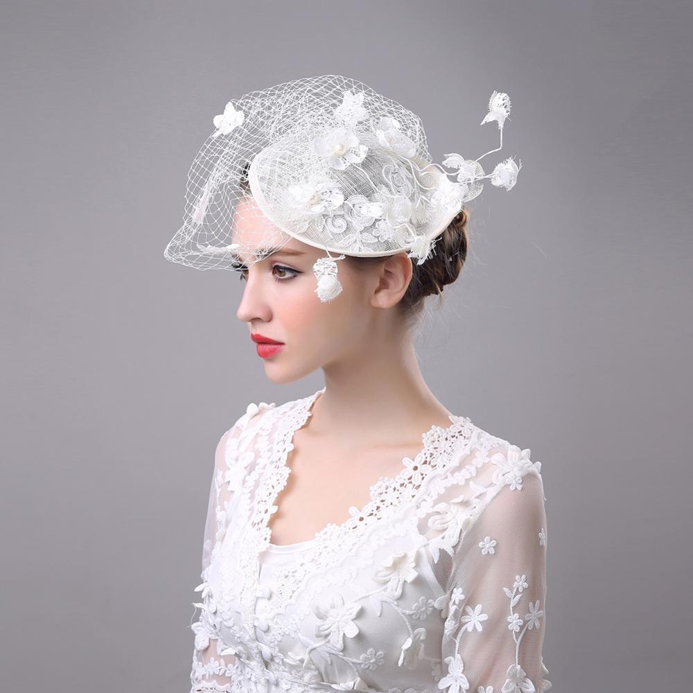 Queena Women Chic Fascinator Hat Wedding Party Church White Headpiece