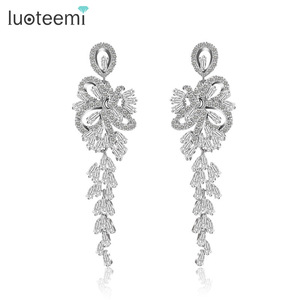 LUOTEEMI High Quality Luxurious Romantic Mariage Bridal Wedding Decoration Party Women Earrings Jewelry